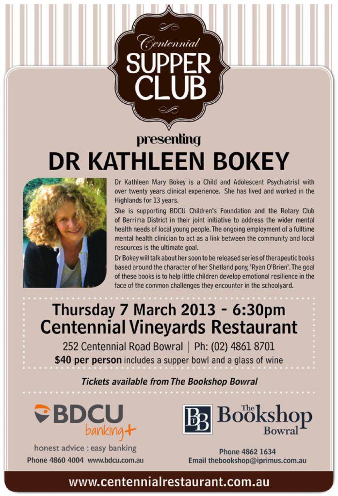 Dr Kathleen Bokey at Centennial Supper Club